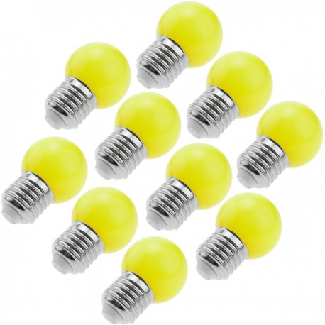 Bombilla LED G45 E27 230VAC 1,5W luz amarilla 10 unidades