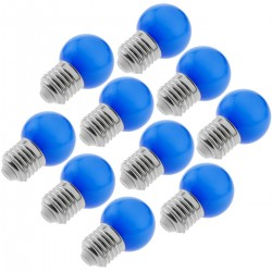 Bombilla LED G45 E27 230VAC 1,5W luz azul 10 unidades