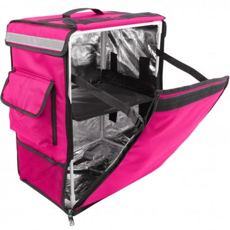 Mochila isotérmica para entrega de pedidos de comida en moto y bicicleta rosa 35 x 25 x 49 cm.