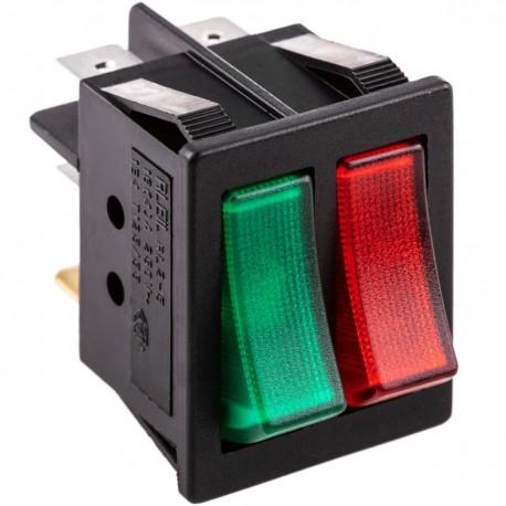 Interruptor luminoso basculante rojo y verde dos canales DPDT 6 pin