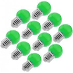 Bombilla LED G45 E27 230VAC 0,5W luz verde 10 pack