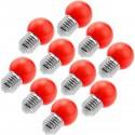 Bombilla LED G45 E27 230VAC 1,5W luz roja 10 pack