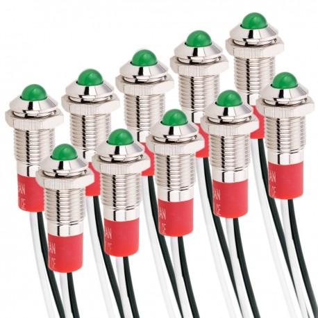 Luz LED Piloto de 8mm 12VDC para montaje en panel de color verde 10 pack