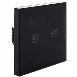 Interruptor inteligente táctil doble en color negro compatible con Google Home, Alexa y IFTTT