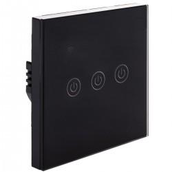 Interruptor inteligente táctil triple en color negro compatible con Google Home, Alexa y IFTTT