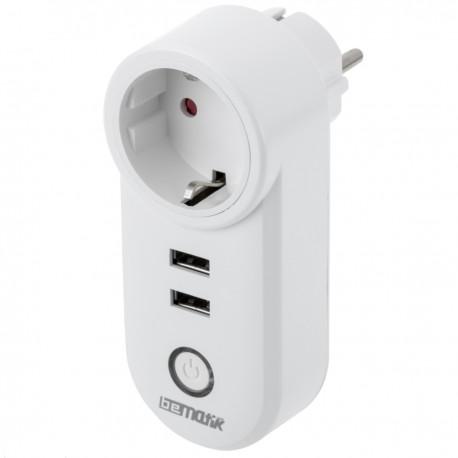 Enchufe inteligente 16A 3680W WiFi Blanco con dos puertos USB compatible con Google Home, Alexa y IFTTT