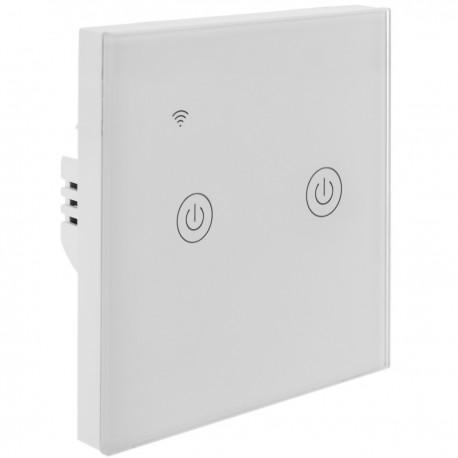 Interruptor inteligente táctil doble en color blanco compatible con Google Home, Alexa y IFTTT