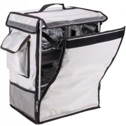 Mochila isotérmica para entrega de pedidos de comida en moto y bicicleta blanca 35 x 25 x 49 cm.