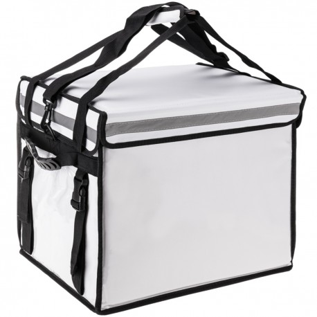 Bolsa isotérmica para entrega de pedidos de comida en moto y bicicleta blanca 44 x 34 x 39 cm.