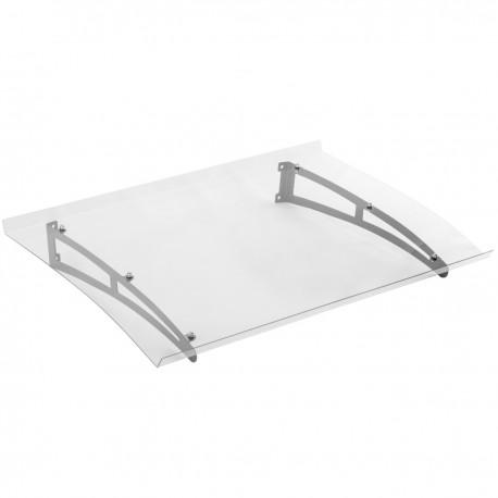 Tejadillo de protección 120 x 80 cm transparente Marquesina para puertas y ventanas con soporte de acero gris