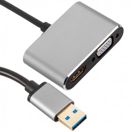 Conversor de USB 3.0 Macho a VGA y HDMI