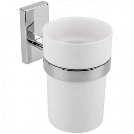 Vaso 70mm diámetro porta cepillo de dientes con soporte porta vaso de pared modelo Spool