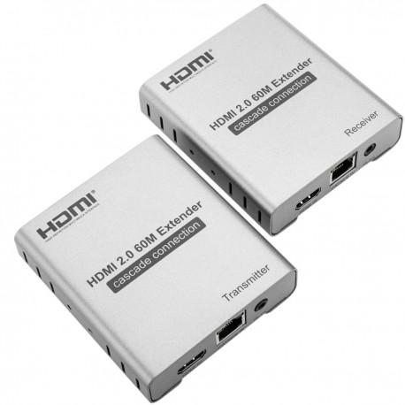 Extensor HDMI 2.0 con infrarrojos prolongador 60m 4k FullHD 1080p a través de cable ethernet Cat.5e Cat.6