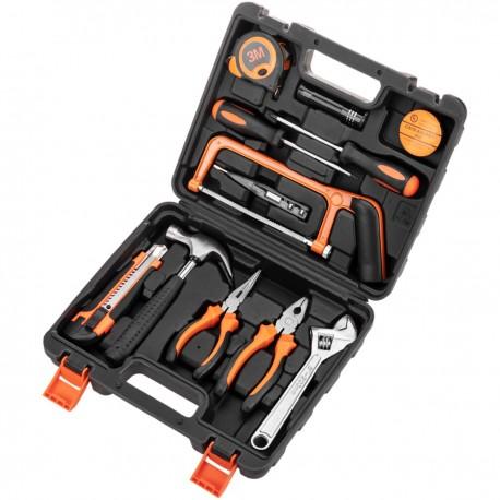 Juego de herramientas básicas de 12 piezas. Destornillador, alicates, martillo, cinta métrica, etc.