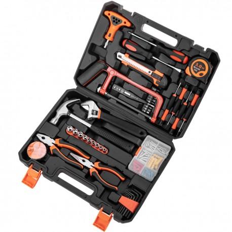 Juego de herramientas básicas de 82 piezas. Destornillador, alicates, martillo, cinta métrica, etc.