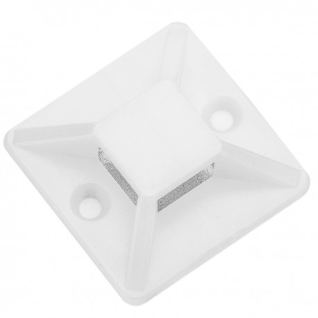 Pack de 100 bases blancas autoadhesivas 20x20mm para bridas de 5mm