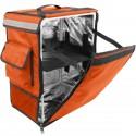Mochila isotérmica 35 x 49 x 25 cm naranja para entrega de pedidos de comida en moto y bicicleta