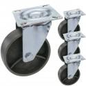 Ruedas pivotantes industriales de metal sin freno 100 mm 4 unidades