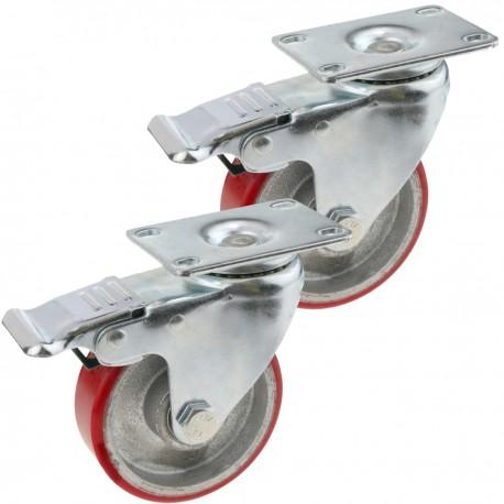 Ruedas pivotantes industriales de poliuretano y metal con freno 100 mm 2 unidades