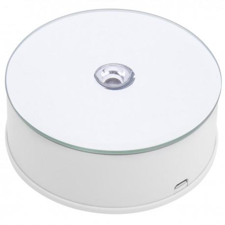 Base giratoria eléctrica 10cm blanco con espejo. Plataforma rotatoria con iluminación LED