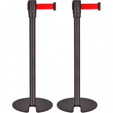 Poste separador 2 unidades negro con cinta extensible roja de 3 m 350 x 50 x 910 mm