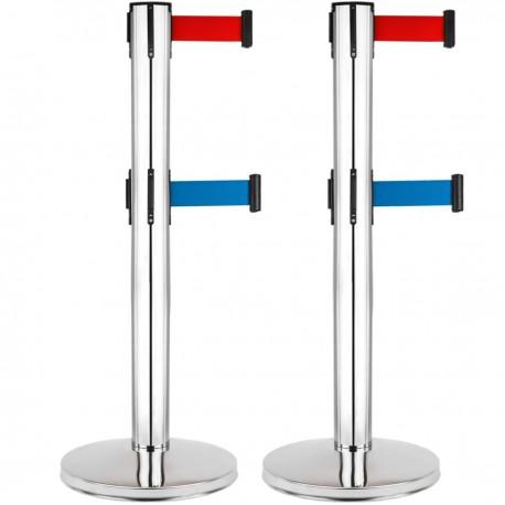 Poste separador 2 unidades en acero inoxidable con cinta extensible azul y roja de 2 m 320 x 63 x 910 mm