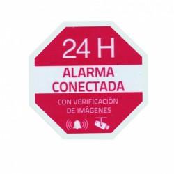 Pegatina Alarma Conectada disuasoria de vinilo de 65x65mm