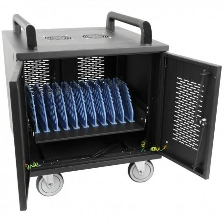 Armario de transporte para 10 ordenador portátil, notebook y tablet negro