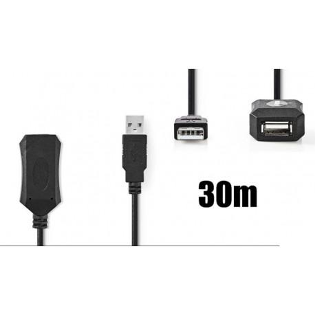 Cable de extensión USB 2.0 activo 30m