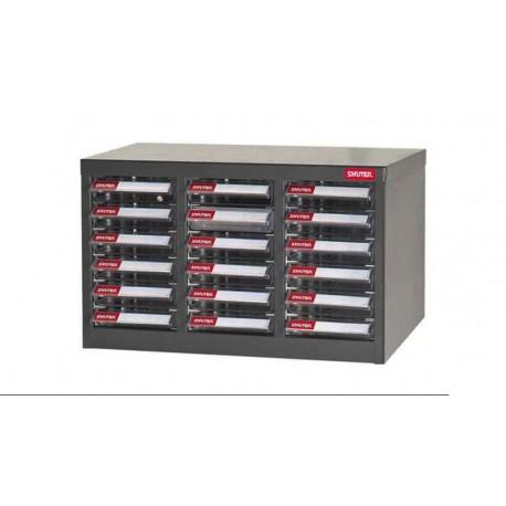 Armário ABS para componentes con 13 divisórias 533 x 265 x 310 mm