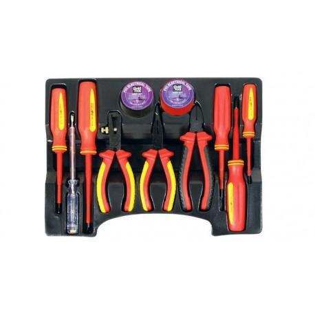 Kit herramientas destornilladores y alicates con aislamiento