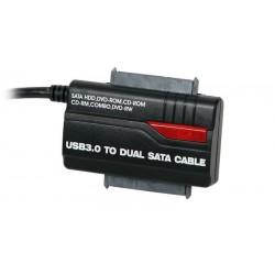 """Adaptador USB 3.0 para 2 SATA 2.5"""" y 3.5"""" con OTB"""