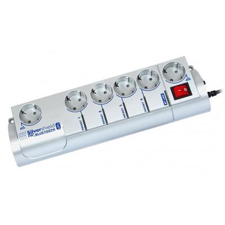 Regleta de 6 tomas con fusible y gestión por Bluetooth, 220 V, gris