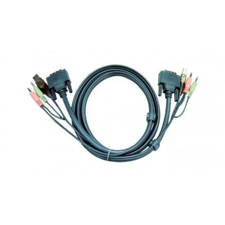 Cable USB B + Audio/Micro + DVI-D a USB A + Audio/Micro + DVI-D
