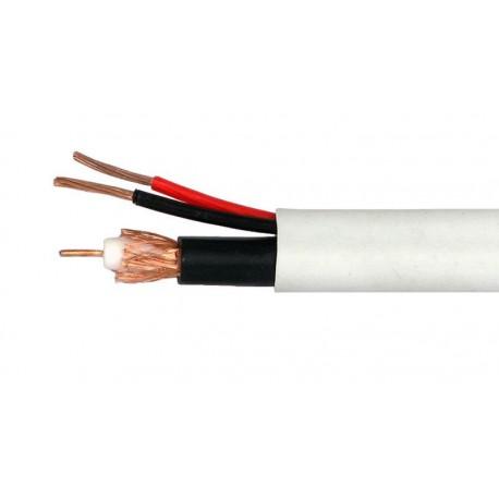 Bobina de cable coaxial RG59 + 2 x 0.81, blanco, 100 m
