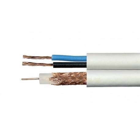 Bobina de cable coaxial RG59 con 2 cables de alimentación 100m