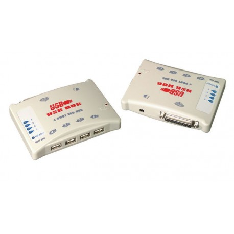 Hub USB 4 puertos con puerto de audio y puerto paralelo
