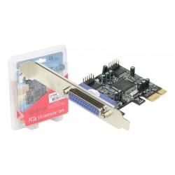 Tarjeta controladora Longshine PCI-E de dos puertos serie RS-232 y un puerto paralelo con opcion de bajo perfil
