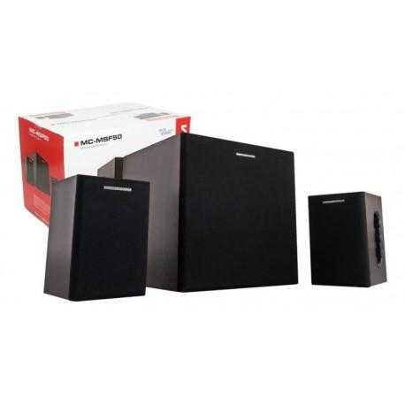 Altavoces 2.1 Modecom MSF50 2x12W+26W RMS MDF RCA/jack 3.5mm