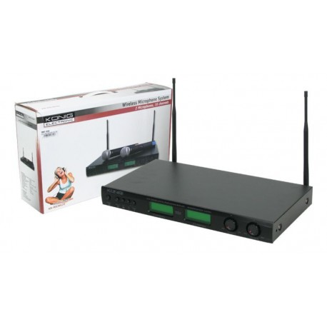 Conjunto de 2 micrófonos y receptor wireless profesional 16 canales
