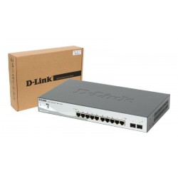 Switch 10 puertos PoE D-Link Web Smart 10/100/1000 Mbps mini GBIC con gestión