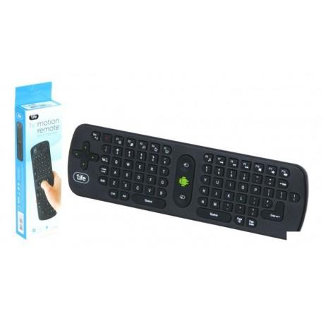 Teclado 1Life wireless tipo remote TV con Air Mouse negro