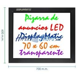 Pizarra de LED de DisplayMatic de 70 x 60 cm transparente