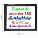 Pizarra de LED de DisplayMatic de 70 x 60 cm transparente