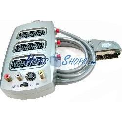 Selector 3 Euroconector/SCART + CVBS/SVHS (1 Macho a 3 Hembra)