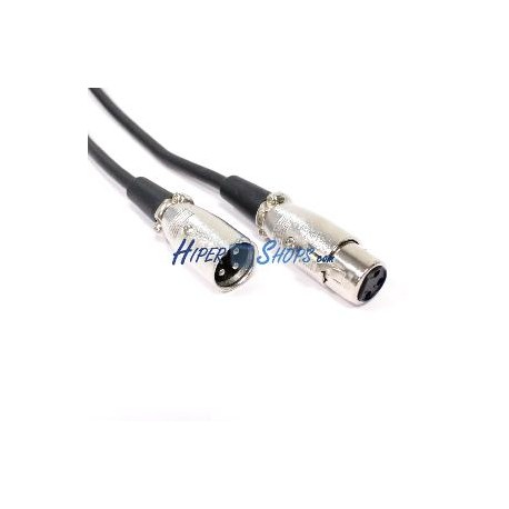 Cable de audio micrófono XLR 3-pin macho a hembra de 5m
