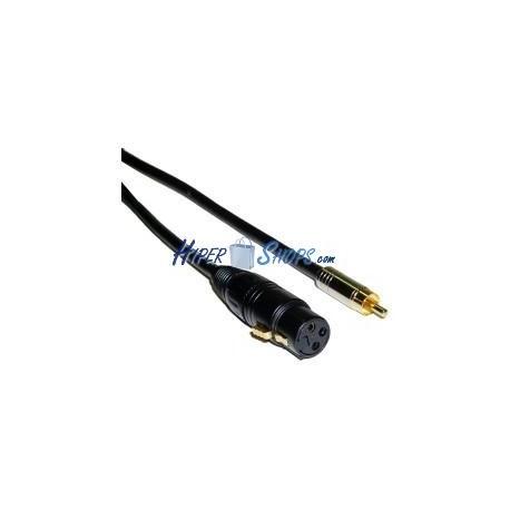 Cable de audio micrófono XLR 3pin hembra a RCA macho de 3m