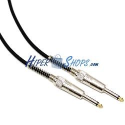 Cable audio micrófono instrumento mono jack 6.3mm macho a macho de 2m