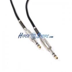 Cable audio micrófono instrumento estéreo TRS jack 6.3mm macho a macho de 2m
