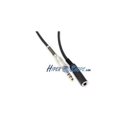 Cable audio micrófono instrumento estéreo TRS jack 6.3mm macho a hembra de 5m